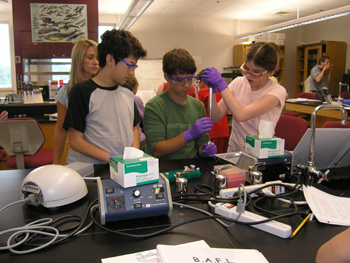 Students Learning to Use Micropipettes